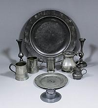 Two 17th/18th Century pewter chargers, 16.5ins and 11ins diameter, two 18th