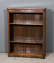 A Victorian walnut dwarf open front bookcase with rounded front corners, fi