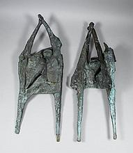 Charmian Fearnley (1932-2012) - Green patinated bronze group - Two figures
