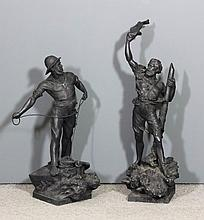 A pair of large late Victorian spelter figures of seamen, 28.5ins and 34.5i