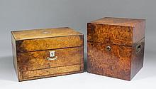 A Victorian burr walnut square garde du vin with recessed brass handles, 8.