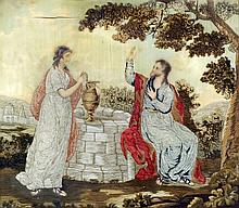An early 19th Century painted and embroidered silk panel - Jesus and Rebecc