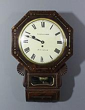 A Victorian rosewood cased drop dial wall clock by Alexander of Hexham, the