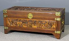 A Chinese teak and camphor wood lined blanket chest by George Zee & Co, Kow