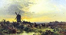 """Attributed to George Augustus Williams (1814-1901) - Oil painting - """"Evenin"""
