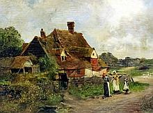 """Leopold Rivers (1852-1905) - Oil painting - """"A cottage near Pulborough, Sus"""