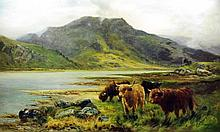 19th/20th Century British School - Oil painting - Highland scene with long