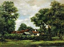 19th Century English School - Oil painting - Country cottage in a rural lan