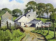 """David William Burley (1901-1990) - Oil painting - """"Irish farm"""", board 12.5i"""