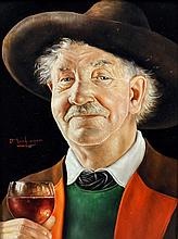 """***Otto Eichinger (1922-2004) - Oil portrait - """"A Glass of Wine"""" - Head and"""