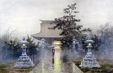 Attributed to Mangiro Terauchi (1890-1964) - Pair of watercolours - View of