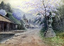 Y. Matsumoto (20th Century Japanese School) - Watercolour - View of a roads