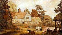 19th Century English School - Watercolour - View of a half timbered farmhou