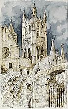 """David Arbus (born 1941) - Three watercolour drawings of Canterbury - """"Bell"""