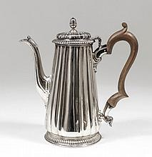A George II silver coffee pot with fluted tapered body, the domed cover wit
