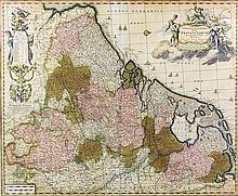 "Nikolas Visscher (1618-1709) - Coloured engraving - ""Germaniae Inferioris X"