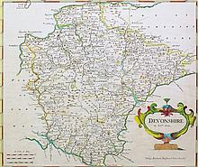 "Robert Morden (Fl. 1668-1703) - Coloured engraving - Map of ""Devonshire"", 1"