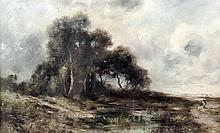 Diaz (19th Century) - Oil painting - Country landscape with figure, canvas