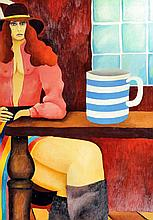 Eric Scott (born 1945) - Oil painting - Seated scantily dressed woman with