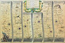 "John Ogilby (1600-1675) - Coloured engraving - Map of ""The road from London"