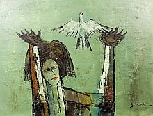 20th Century Continental School - Oil painting - Abstract of a figure with