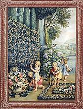 Giotto Lamponi - Oil painting - Italian garden landscape with children pick