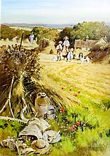 John Haskins (born 1938) - Oil painting - Haymaking scene, board 27ins x 19