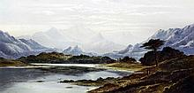 Charles Leslie (1835-1890) - Oil painting - Highland loch scene with two fi
