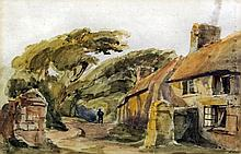 Paul Jacob Naftel (1817-1891) - Watercolour - Country road and cottage in G
