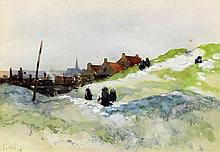 Georges Charles Haite (1855-1924) - Watercolour - Dutch landscape with figu