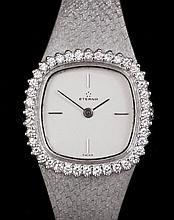 A 1980's lady's 18k white gold Eterna cocktail watch, the silvered face qua