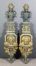 An impressive pair of late 19th/early 20th Century French painted and gilt