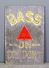 "An early 20th Century polished slate ""Bass"" advertising sign, the surface d"