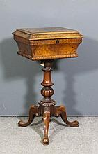 A William IV figured and burr walnut rectangular work table, the lifting to