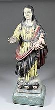A late 18th/ early 19th Century carved wood gesso and painted standing figu