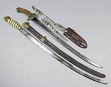 A 19th Century European hunting short sword, the 25ins steel blade with met