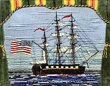 A late 19th Century sailor's woolwork picture depicting an American three m