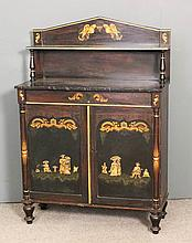 A Regency painted and grained Chiffonier, the back with angled pediment, fi