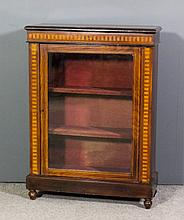 A Victorian walnut and ebonised dwarf display cabinet, inlaid with parquetr