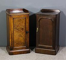 A Victorian figured walnut tray top bedside cabinet, enclosed by a single p
