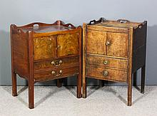 A George III mahogany tray top bedside cabinet the shaped top with three ha
