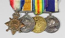 """A group of four George V First World War Medals to """"L. 6238 B. H. Crickmore"""
