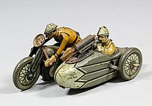 A 1930's Kellerman (Germany) tinplate clockwork army motorcycle and side ca