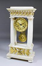 A 19th Century French alabaster and gilt brass mounted mantel clock by Le R