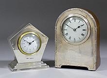 An Edward VII silver cased mantel timepiece, the 1.75ins diameter white ena