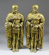 A pair of early 20th Century cast brass standing figures of Roman Centurion