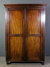 19th Century mahogany wardrobe, with moulded cornice, fitted hanging compar