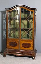 An Edwardian mahogany display cabinet inlaid throughout with boxwood string