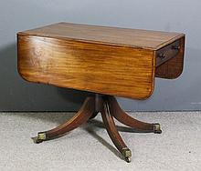 A George III mahogany Pembroke supper table, the top with moulded edge, fit