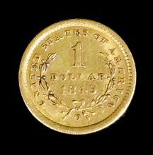 A U.S.A 1849 gold Liberty Head One Dollar, (open wreath-O), engraved by James B Longacre (VF - weight 1.4 grammes)